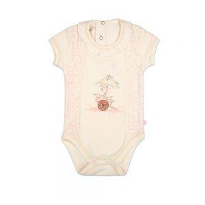 زیر دکمه آستین کوتاه نوزادی پوشیران طرح گل و گاری