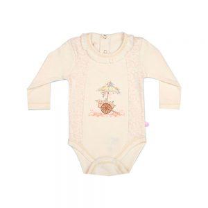 زیر دکمه آستین بلند نوزادی پوشیران طرح گل و گاری