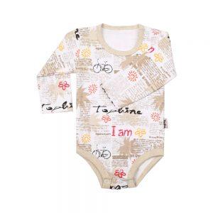 زیر دکمه آستین بلند نوزادی تاپ لاین طرح روزنامه