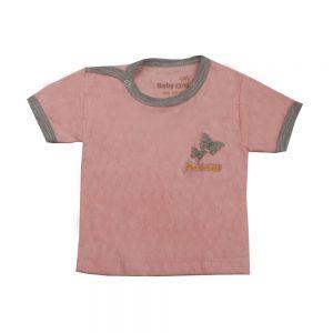 تی شرت آستین کوتاه نوزادی بی بی وان طرح قلب صورتی