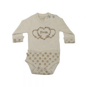 زیر دکمه آستین بلند نوزادی پوشیران طرح پرنسس