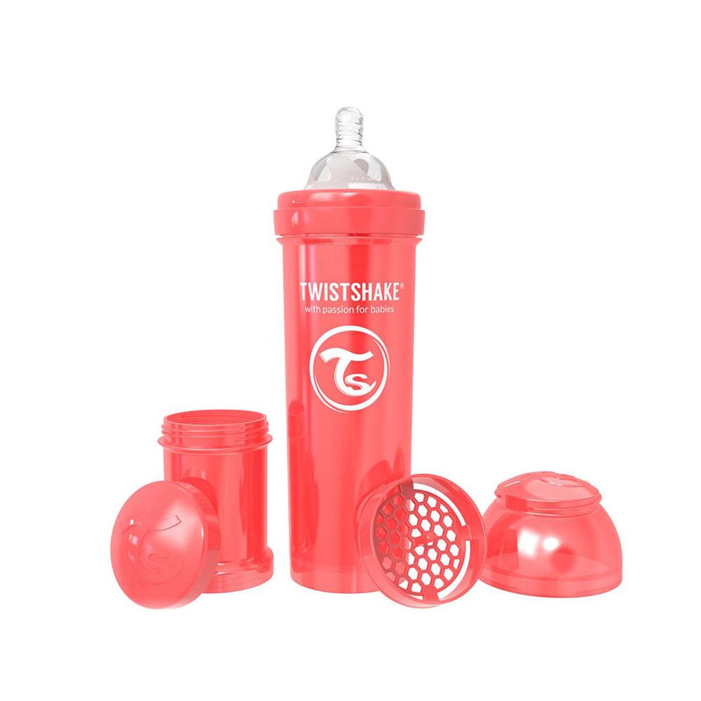 شیشه شیر تویست شیک Twistshake ظرفیت 330 میلی لیتر قرمز صدفی