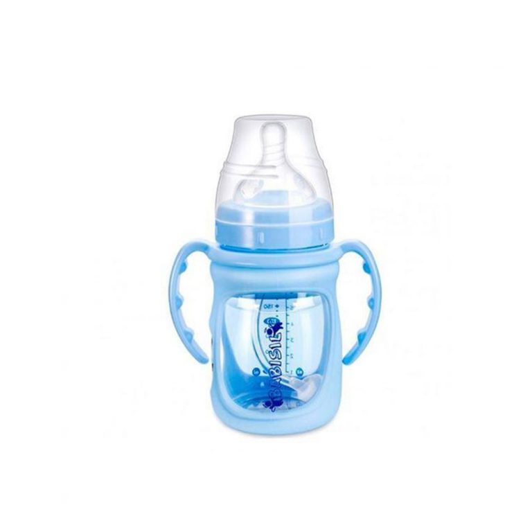شیشه شیر پیرکس 12+ ماه بی بی سیل Babisil مدل نی دار ظرفیت 180 میلی لیتر آبی
