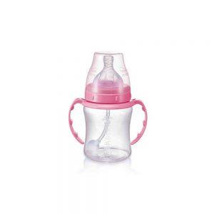 شیشه شیر بی بی سیل مدل نی دار ظرفیت 180 میلی لیتر صورتی