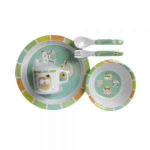 ست ظرف غذای کودک 5 تکه براوو Bravo طرح جغد سبز