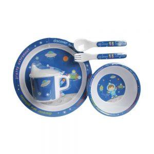 ست ظرف غذای کودک 5 تکه براوو Bravo طرح فضایی آبی