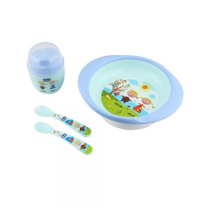 ست ظرف غذای کودک 4 تکه سیکو Cihcco طرح آدمک آبی
