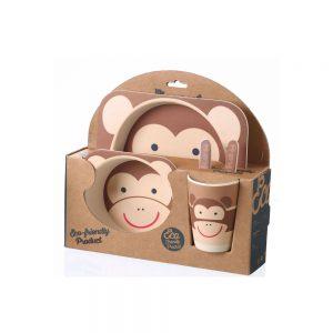 ست ظرف غذای کودک 5 تکه بامبو bamboo طرح میمون