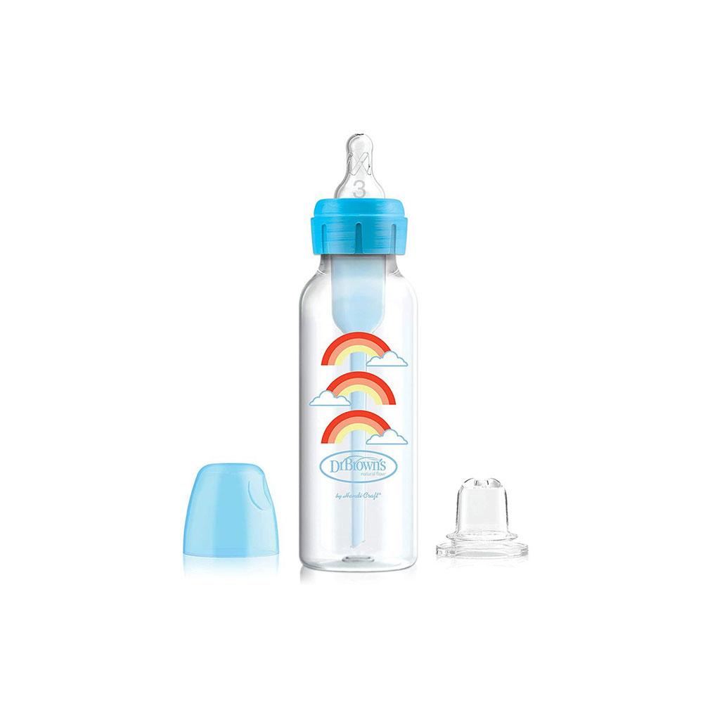 شیشه شیر دکتر براون Dr Browns آپشن پلاس ظرفیت 250 میلی لیتر آبی