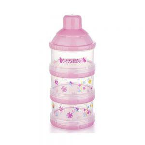 ظرف ذخیره شیر خشک و غذا 3 عددی بی بی سیل Babisil صورتی