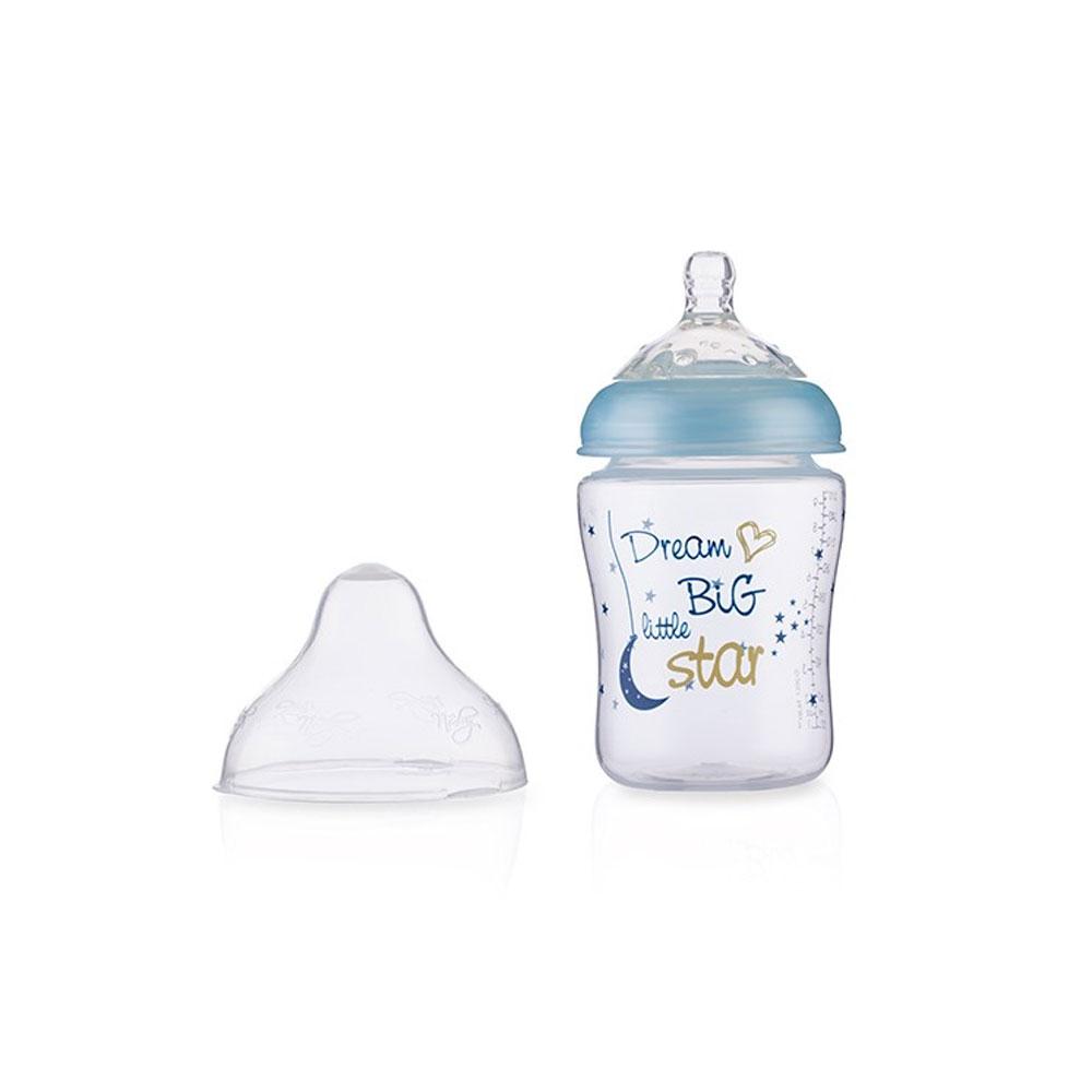 شیشه شیر طلقی 0+ ماه نابی NUBY ظرفیت 270 میلی لیتر آبی