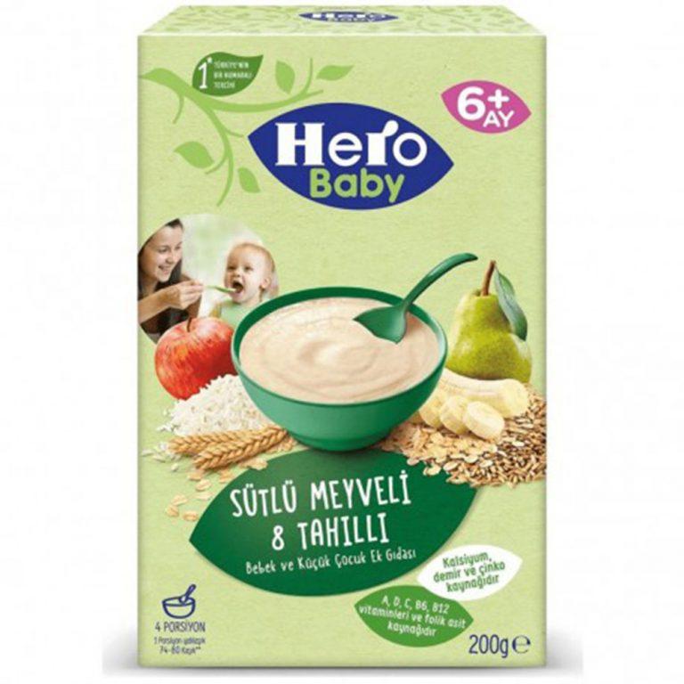 سرلاک با طعم ۸ غله و میوه  همراه با شیر هیرو بی بی Hero Baby