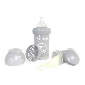 شیشه شیر تویست شیک ضد نفخ 180 میلی لیتر خاکستری Twistshake