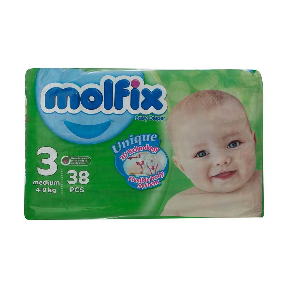 پوشک مولفیکس Molfix سایز 3 بسته 38 عددی