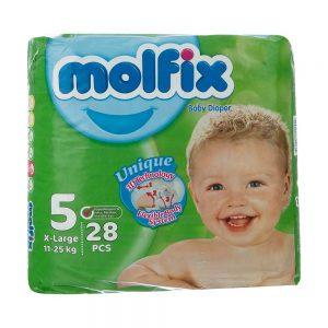 پوشک مولفیکس Molfix سایز 5 بسته 28 عددی