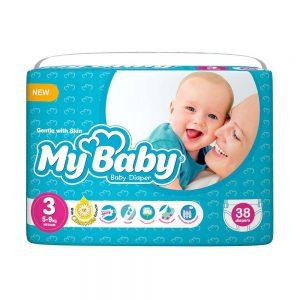 پوشک مای بیبی Mybaby سایز 3 بسته 38 عددی