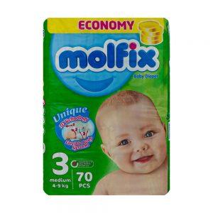 پوشک مولفیکس Molfix سايز 3 بسته 70 عددي