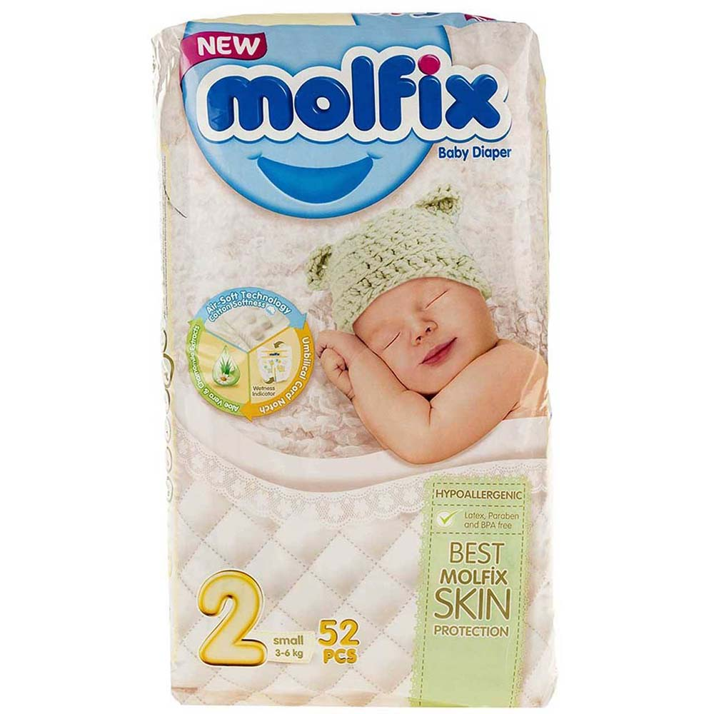 پوشک مولفیکس Molfix سایز 2 بسته 52 عددی
